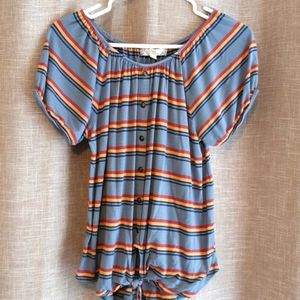 PINK ROSE Blue Striped Front Tie Tee (M)